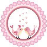 Love Birds Round Label Royalty Free Stock Photo