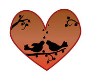 Love birds silhouette Royalty Free Stock Images