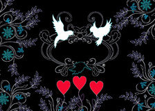 Love birds silhouette with ornaments. Love birds silhouette on black background royalty free illustration