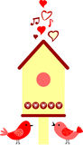 Love birds. Birds are singing about love about birdhouse Vector Illustration