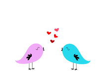 Love birds. Singing with hearts Royalty Free Stock Photography