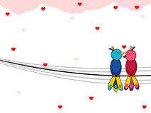 Love birds sitting and loving each other. . Vector illustration of a love bird sitting on a wire background for Valentines Day royalty free illustration