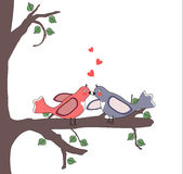Love birds on a tree branch. Illustration with love birds on a tree branch Stock Illustration