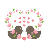 Love Birds Wearing A Heart Wreath Royalty Free Stock Photos