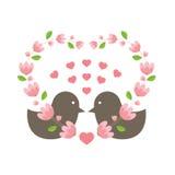 Love Birds Wearing A Heart Wreath. Illustration stock illustration