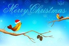 Love Birds wishing Merry Christmas Stock Photography