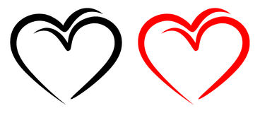 Free Love Birds With Red And Black Two Hearts Stock Photography - 22708932
