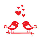 Love Birds With Red Hearts - Card For Valentine`s Day Royalty Free Stock Images