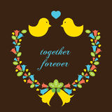 Love Birds With A Wreath Stock Image