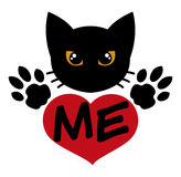 Love the Black Cat. Black cat, paws, and heart. They asking for your love. Very cool for print on sticker, hat, and tshirt Stock Image