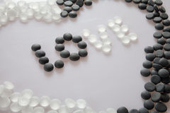 Love black and white. A lot of stones make word love Stock Photo