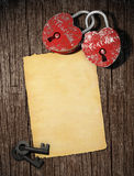 Love blanck letter with two padl Stock Photography