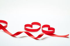 Love. Blank greeting card with ribbon form into heart shape royalty free stock photo