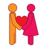 Love Blend. An icon of a male and a female holding a love shape, the male in yellow and the female in magenta with the love shape in red, a blend of yellow and vector illustration