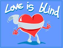 Love is blind. Greeting card Royalty Free Stock Images