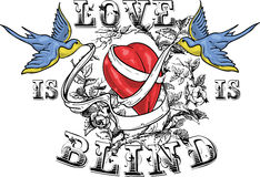 Love is blind. Design with birds, sash and red heart Stock Image