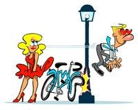 Love is blind cartoon illustration. Cartoon caricature of man running into lamp post when seeing beautiful blond woman Stock Images