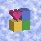 Love blocks - clouds. Image of 3 primary coloured cubes with a heart shaped 3d cube and a cloud background, conceptual difference royalty free illustration