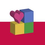 Love blocks original. Image of four 3d objects in primary colours with 1 object as a heart vector illustration