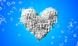 Love Blue Musical Note Particles 3D Royalty Free Stock Images
