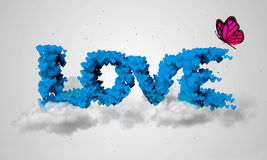 Love blue Particles 3D butterfly Royalty Free Stock Image