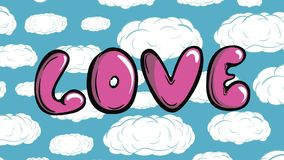 Love and blue sky. Inscription love pink letters against the background of the sky stock video