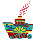 Love boat, funny children's book illustration Royalty Free Stock Photos