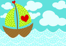 Love Boat Valentines Day Card. Greeting card with a boat with hearts sailing. Space to put text inside the clouds vector illustration
