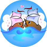 Love boats. Vector drawing in the circle love boats Royalty Free Stock Photos