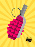 Love bomb. Breaking a pomegranate with hearts.. Charge of love for Valentines day. Breaking explosives-weapons of Cupid. Explosive for love Angel. explosive Royalty Free Stock Photo