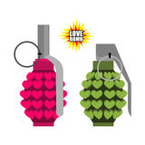 Love bomb. Hand grenade from  hearts. Pink military projectile Stock Photo