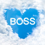 Love boss word on blue sky Royalty Free Stock Photo