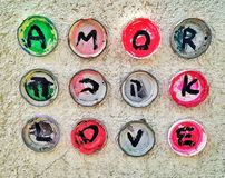 Love in a bottle cap royalty free stock photos
