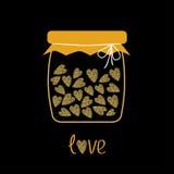 Love bottle jar with hearts inside. Gold sparkles glitter texture Black background royalty free illustration