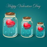Love bottle jar with pink hearts inside. Post card Royalty Free Stock Photography