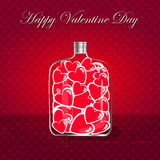 Love bottle jar with pink hearts inside. Post card Stock Images