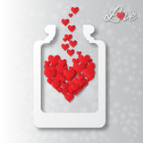 Love bottle jar with red hearts inside. Royalty Free Stock Images
