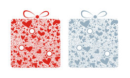Love box. Illustration of two colored abstract gift boxes with some hearts, flowers, stars and rounds on the white background Stock Images