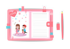 Love boy and girl with note book 8 Royalty Free Stock Images