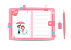 Love boy and girl with note book 6 Stock Photography