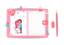 Love boy and girl with note book 1 Royalty Free Stock Photos