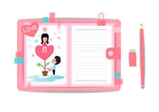 Love boy and girl with note book 2 Stock Image