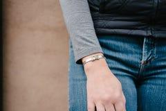 Love bracelet on woman's wrist Stock Photography
