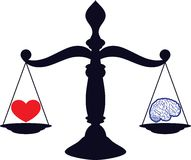 Love and brain. Black silhouette of scales of justice with gavel stock illustration