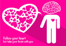 Love with brain and heart happy valentine's day Royalty Free Stock Photo