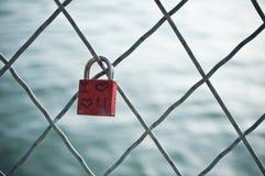 Love brake in Arts bridge in Paris Royalty Free Stock Image