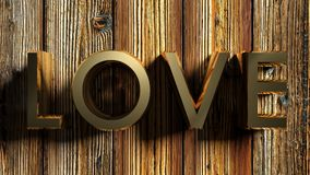 LOVE brass write on raw wood - 3D rendering Stock Images