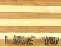 Love and bread cutting board. Royalty Free Stock Photo