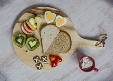Love breakfast. Do u love ur breakfast with bread, egg, and fruit stock images