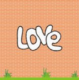 Love on brick wall. Vector image of brick wall with inscription LOVE. It is easily edited Royalty Free Stock Photos
